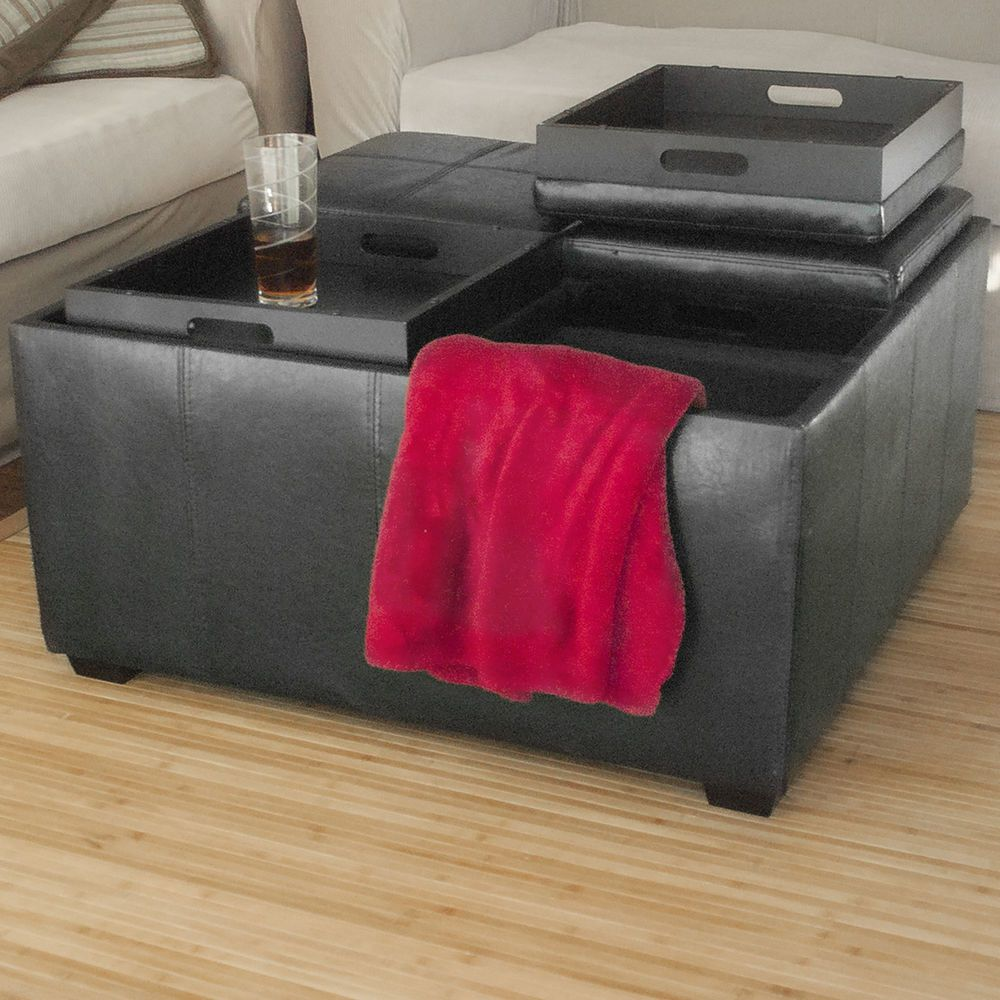 Leather Ottoman With 4 Tray Tops Storage Bench Coffee Table
