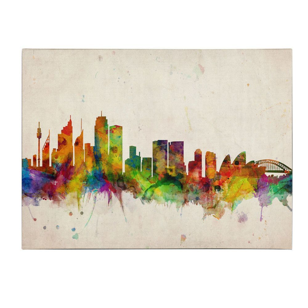 Sydney Skyline by Michael Tompsett Painting Print on Wrapped Canvas