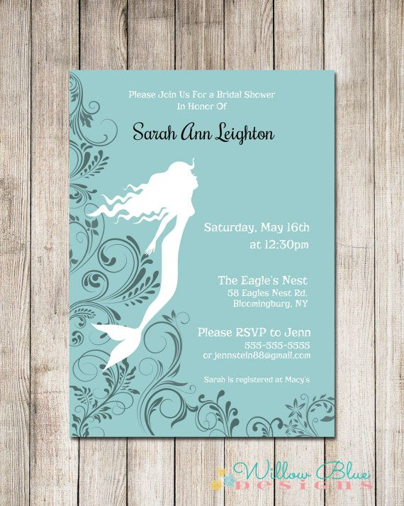 mermaid bridal shower invitation teal and black 5x7 or 4x6 printable printable bridal shower invitation