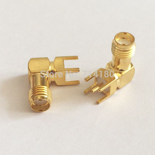 1pc Sma Rf Coax Connector Female Jack Right Angle Pcb Mount Goldplated Wholesale Fast Shipping Goldplated Connector
