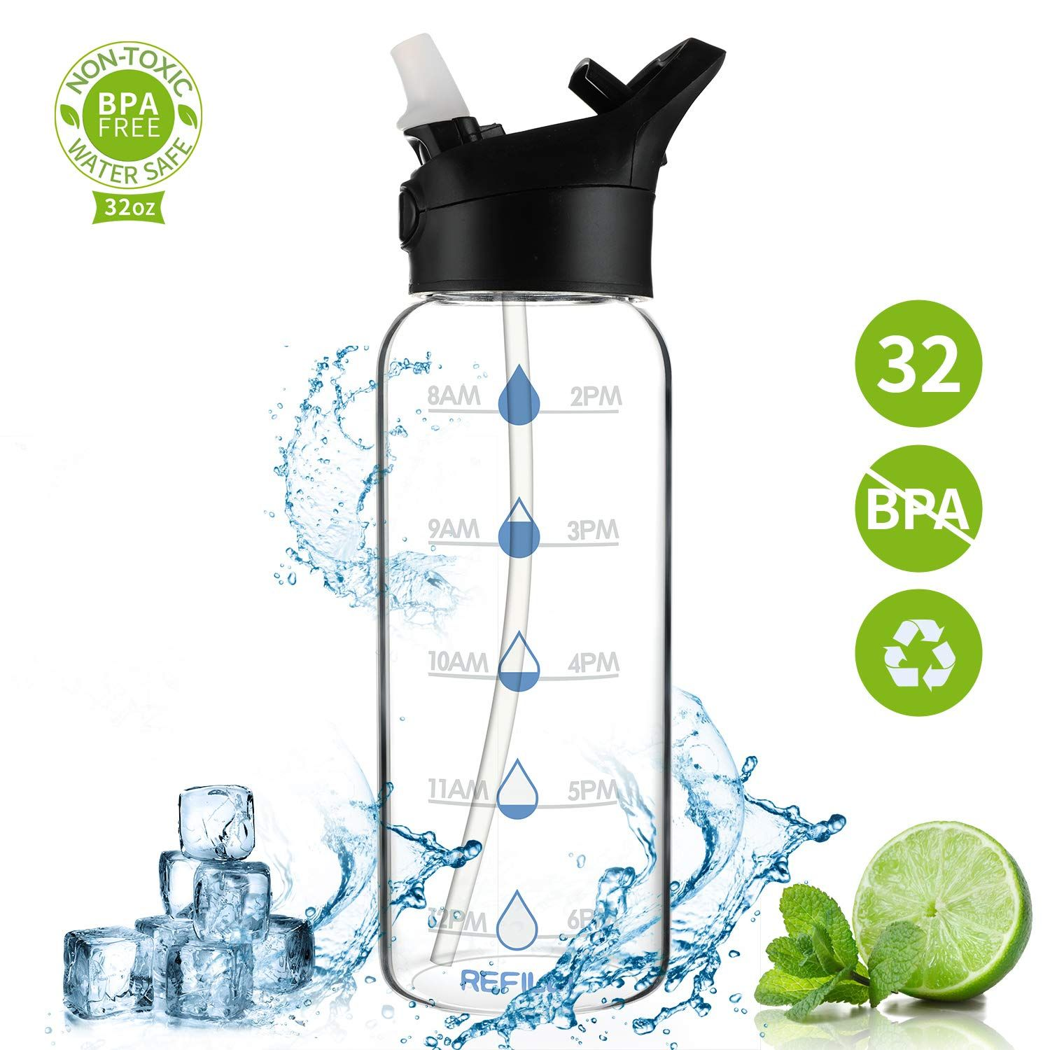 32 Oz Glass Water Bottle With Straw Motivational Water Bottle With Time Marker 1 Liter Glass Water Bottle Bpa Free Water Bottles Flip Top Leak Proof Sports Water Bottle Wide Mouth Smart Water Bottle B07txgtl68