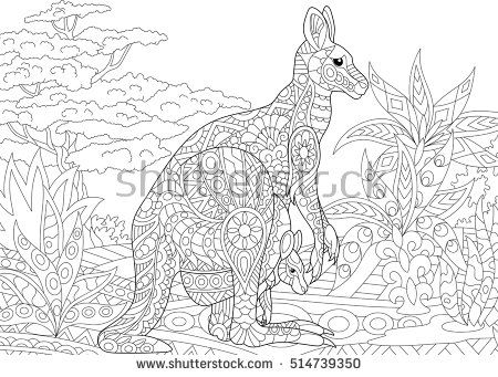 Stylized australian kangaroo family - mother and her young cub in ...