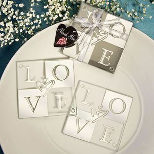 Love Coaster Wedding Favors Set Of 2 Glass