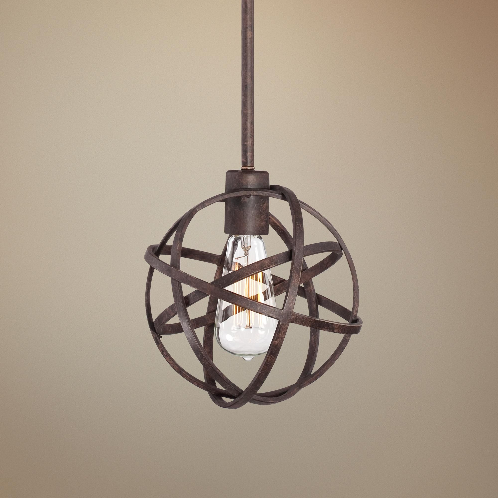 Industrial atom 8 wide edison bronze mini pendant light