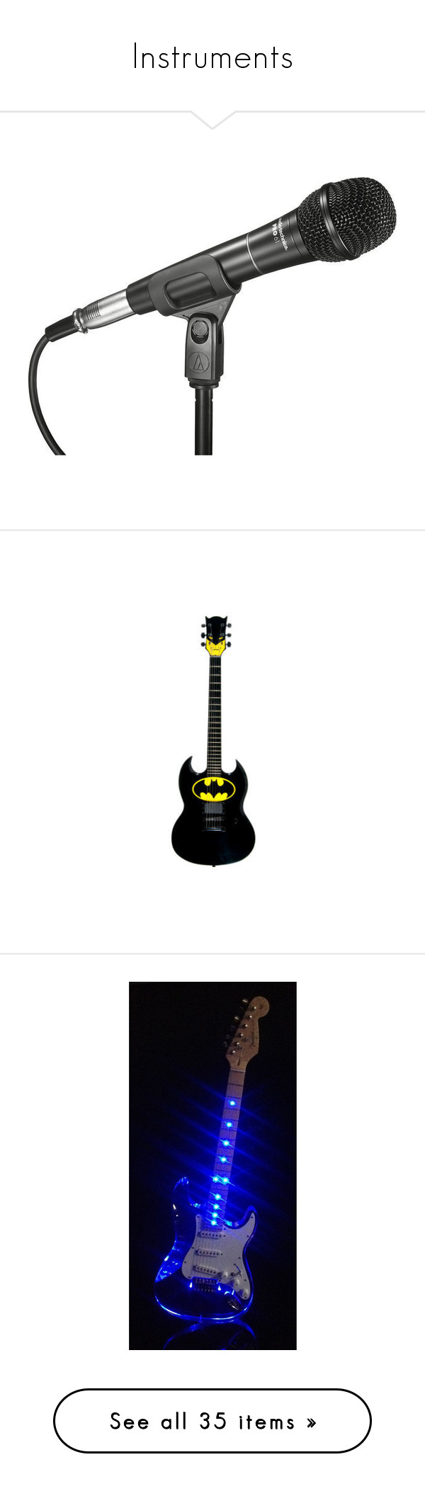 """Instruments"" by notanarwhal2 ❤ liked on Polyvore featuring music, microphones, instruments, accessories, electronics, filler, batman, guitars, stuff and band"