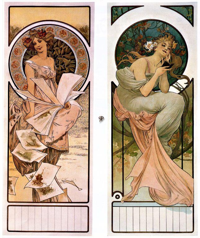 """Calendar Champagne"" by Alphonse Mucha 1897, art nouveau"