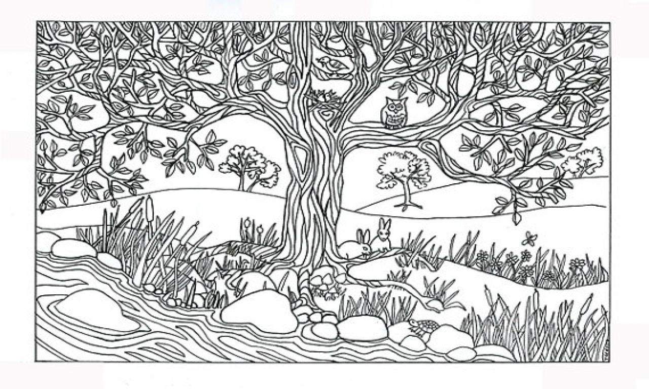 River Scene Coloring Page Nature Coloring Pages, Tree River Nature ...