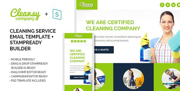 Cleansy - Cleaning Service Purpose E-mail Template WebElemento - spreadsheet for cleaning business