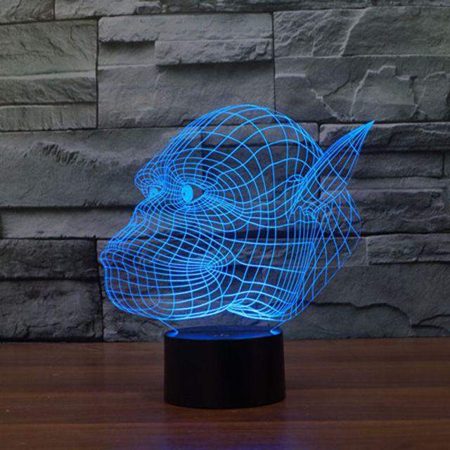 Aliexpress Com Buy Amazing Magical Optical Illusion 3d Led Night Light Gorilla Animal Shape Usb Table Light N 3d Led Night Light Light Table Novelty Lighting