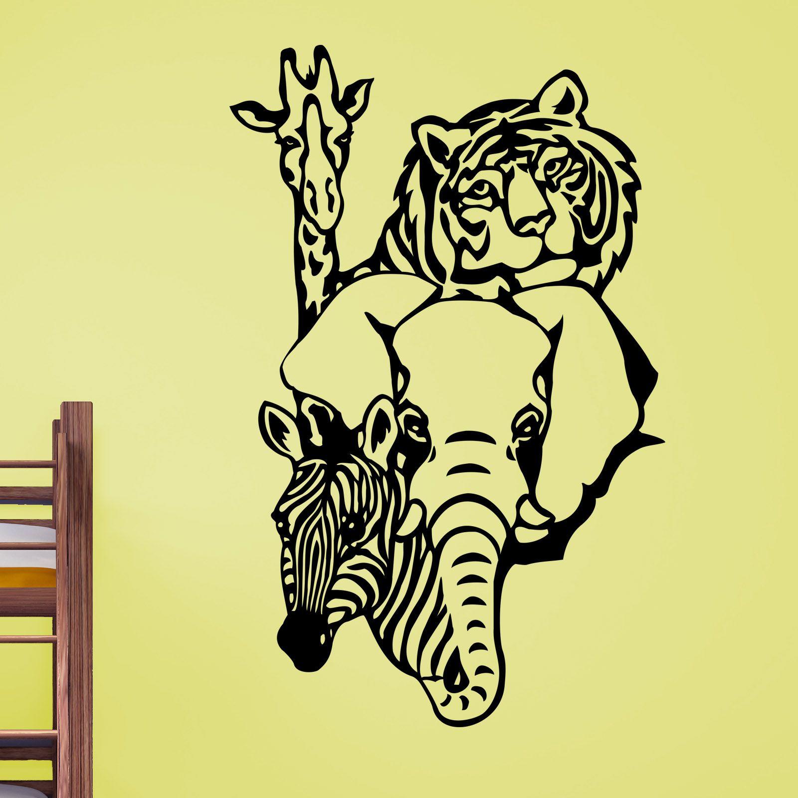 Quality Tiger Giraffe Elephant Zebra Animal Wall Sticker