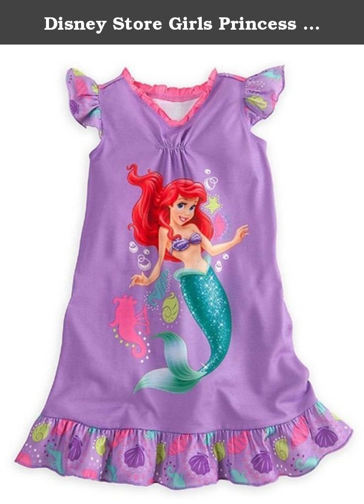68abb3dd0a Disney Store Girls Princess Ariel Nightgown Nightshirt  Little Mermaid  Sleepwear (Large 10).