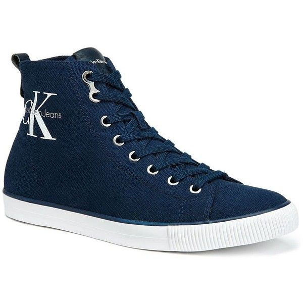 Calvin Klein Arthur Canvas High-Top Sneakers (520 CNY) ❤ liked on Polyvore  featuring men's fashion, men's shoes, men's sneakers, navy, navy blue mens  shoes ...