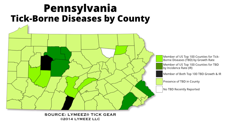 Tickborne Diseases Are Broadly Wellestablished In PA - Tick us map
