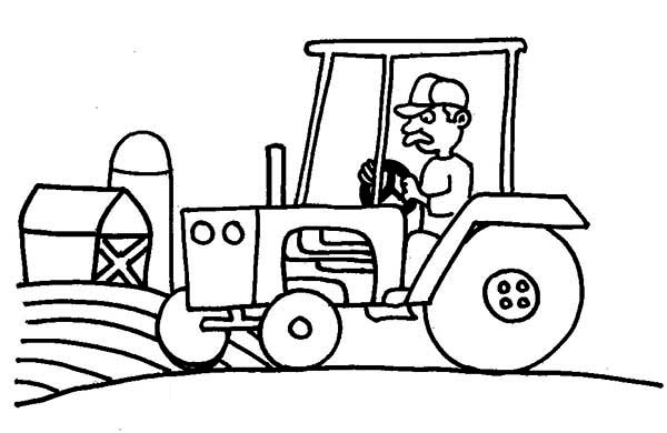 Tractor, Farm And Barn Coloring Page - Download & Print ...