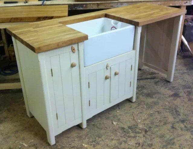A Pine Freestanding Kitchen Belfast Butler Sink Unit Oak Top Rustic Shabby  Chic
