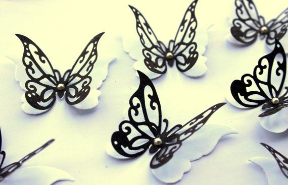 Black wall decals, paper butterflies, 3d butterfly wall art ...