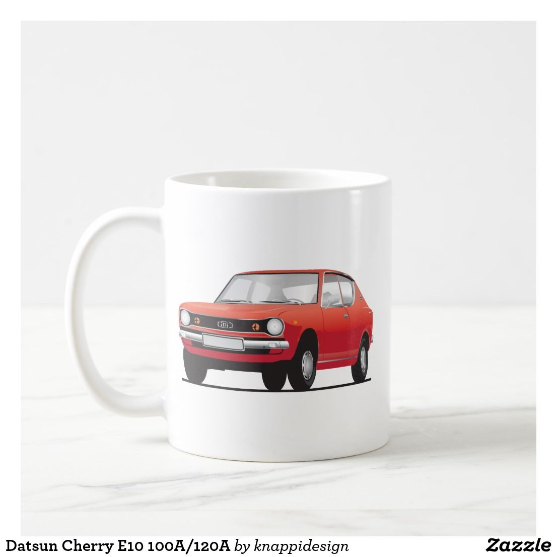 Datsun Cherry E10 100A/120A in red, two images per coffee mug.  #datsun #datsuncherry #datsun100A #datsun #datsun120A #datsune10 #70s #1970s #japan #japanese #automobile #cars #classiccars #carillustrations #silver #smallcar #coffeemug #kaffamugg #muki #auto #cherry #datsunnissan