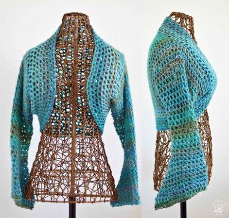 Lightweight No Seam Shrug Free Crochet Pattern | Crochet, Patterns ...