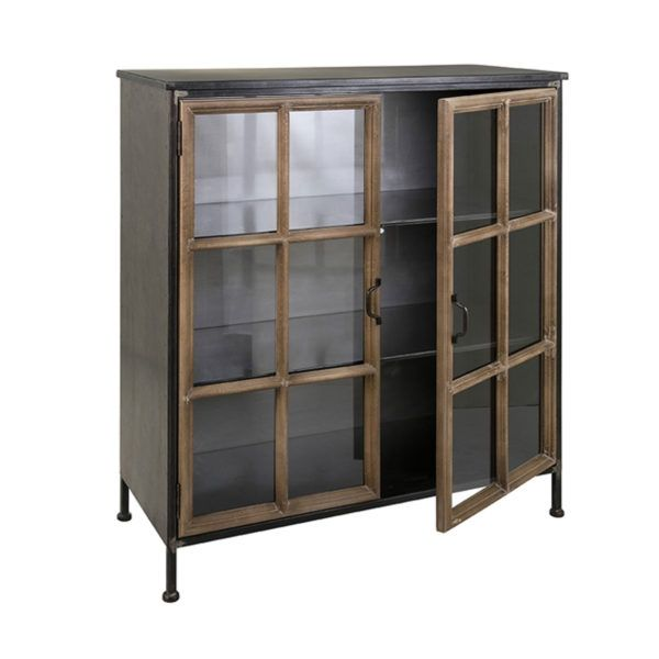 Imax 40534 Lawrence Wood Metal Cabinet Hope Home Furnishings And Flooring Accent Doors Accent Cabinet Metal Cabinet