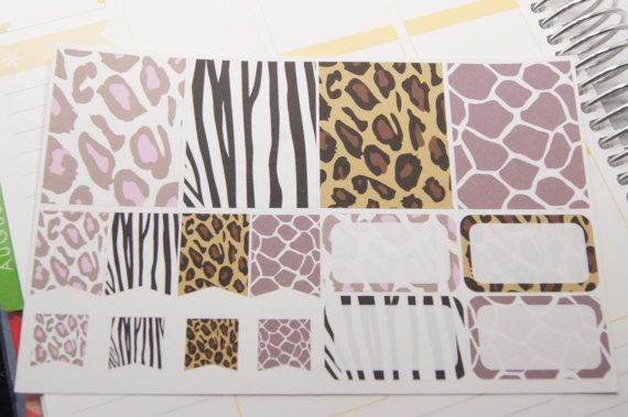 16 Animal Print Planner Stickers Scrapbook Full Box Half Box