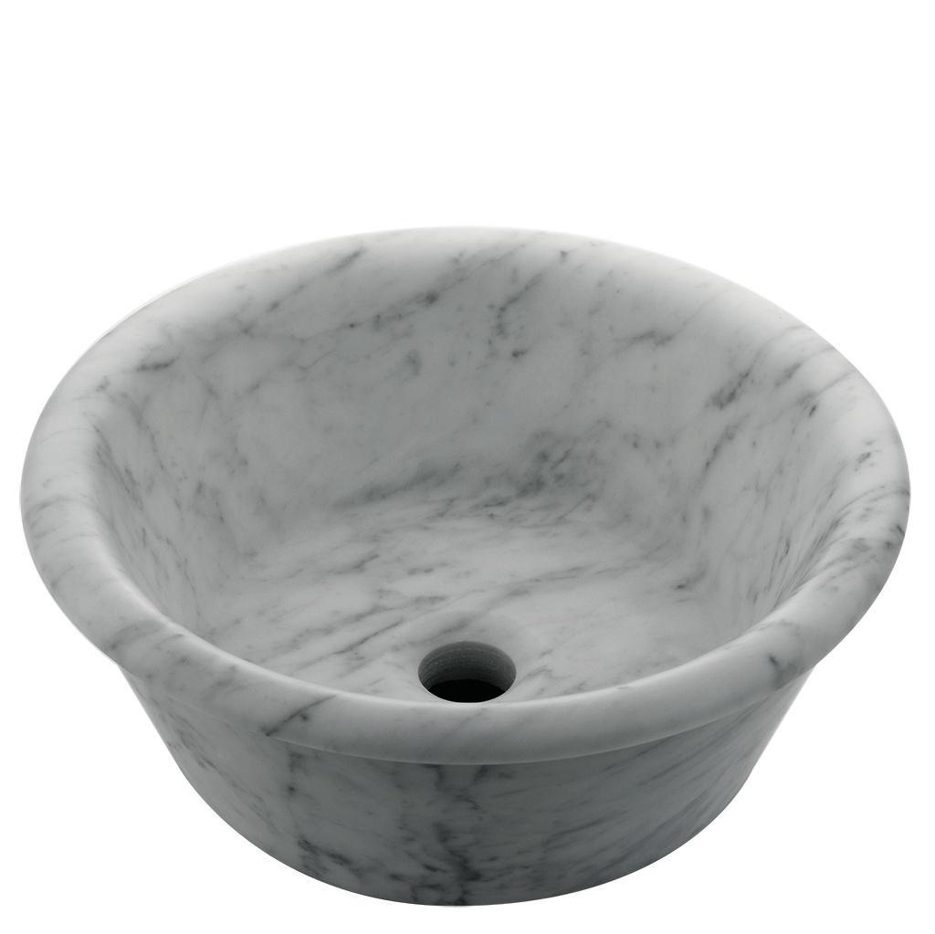 Titan Round Vessel Marble Lavatory Sink 15 3 4 X 15 3 4 X 6 With Flat Bottom Lavatory Sink Bath Furniture Marble Bath