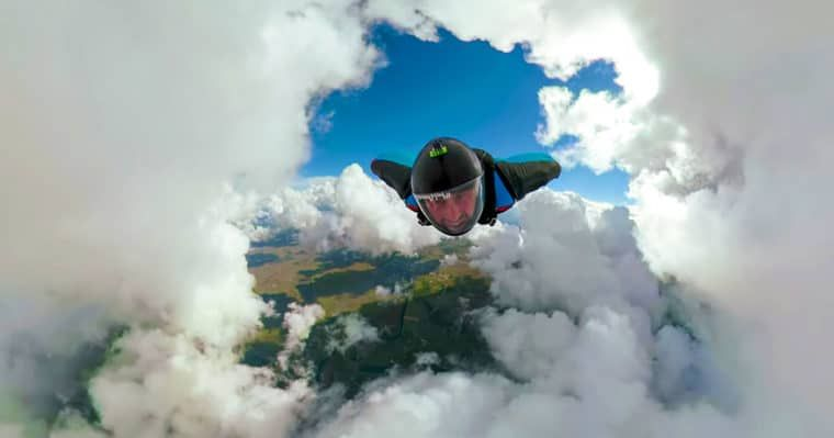 Impressive wingsuit flight with a 360° GoPro Clouds