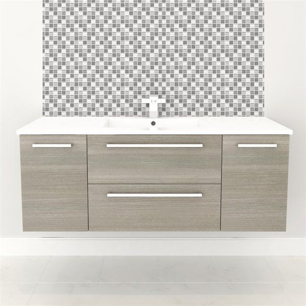Cutler Kitchen Bath Silhouette Collection 48 Wall Hung Vanity With Top Fixture Universe Wall Hung Bathroom Vanities Bathroom Vanity Single Bathroom Vanity