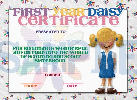 Girl Scouts First Year Daisy Completetion Award Certificate by - first place award certificate