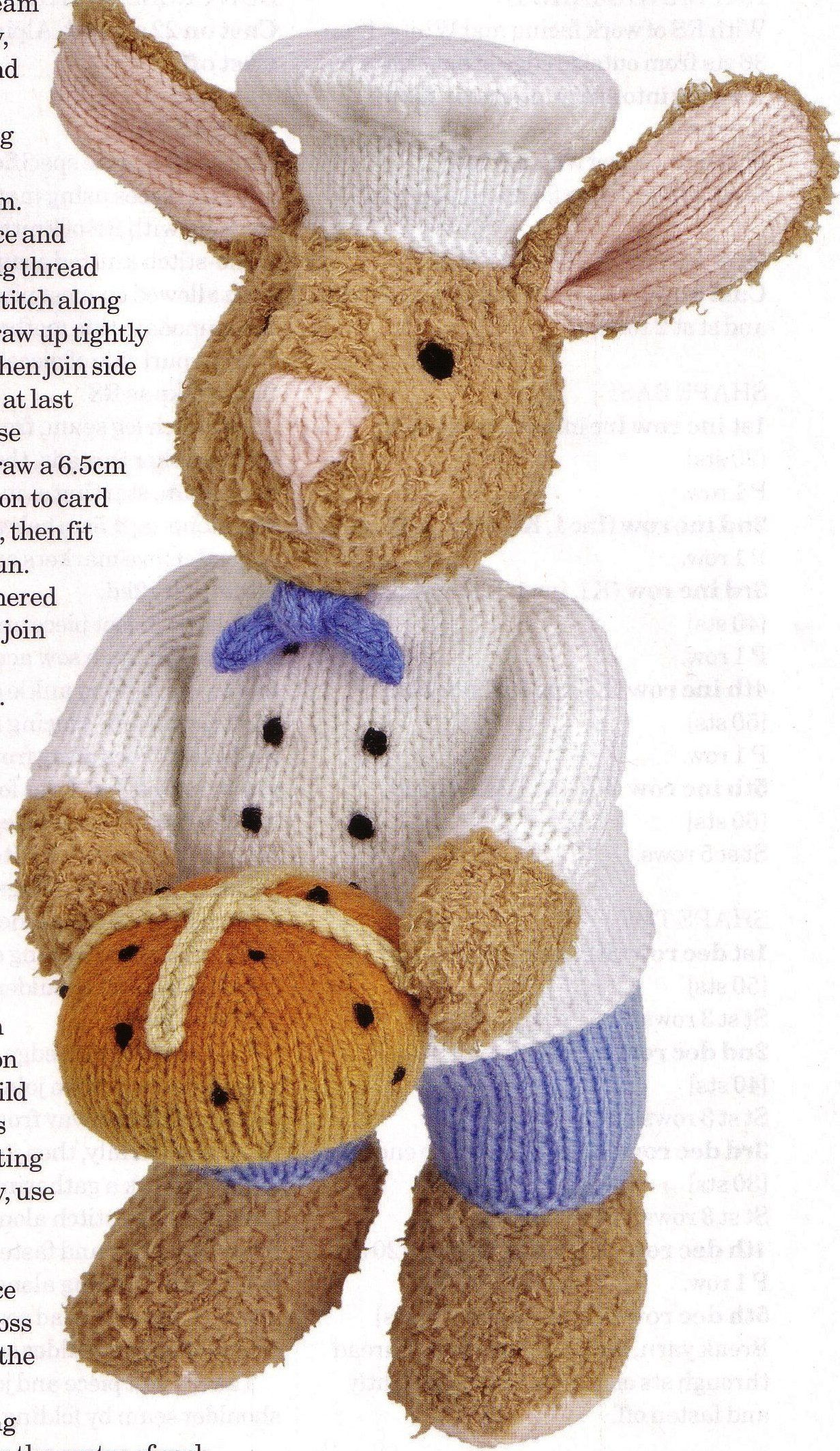 Hot Cross bunny toy knitting pattern by Alan Dart (simply knitting ...