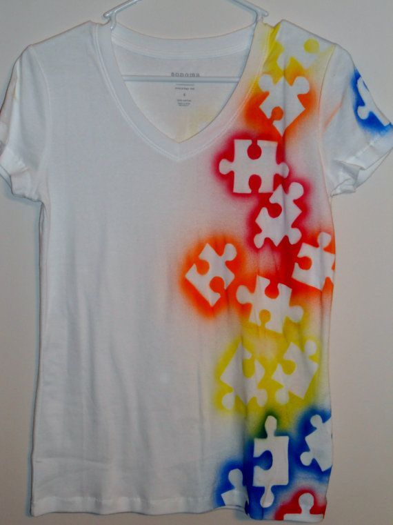 Autism Awareness Tee Shirt   Puzzle Piece, Multi Color. $18.00, Via Etsy.