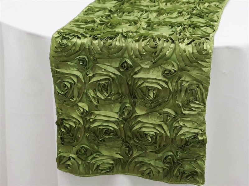 Grandiose Rosette Table Runners � Willow Green | Tablecloths Factory- $9