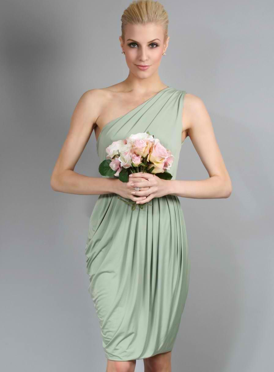 Geneva in mint hemlock bridesmaids 2013 pantone colour trends geneva dress by pia gladys perey sweet one shoulder dress with draping and pleated detailing a perfect short cocktail bridesmaid dress which can be paired ombrellifo Images