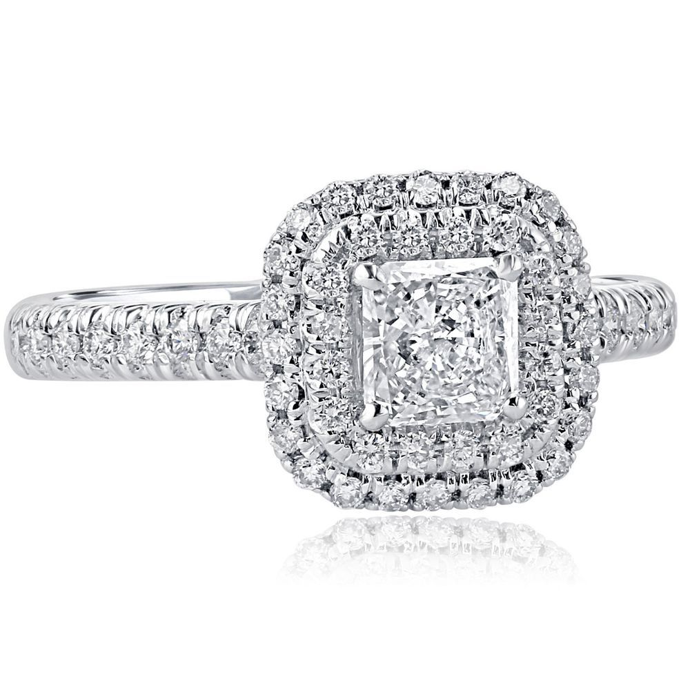 5dcf0a0b0 1.07 Carat G-VS1 Radiant Cut Diamond Double Halo Engagement Ring 18k White  Gold #ATRJewelry #SolitairewithAccents