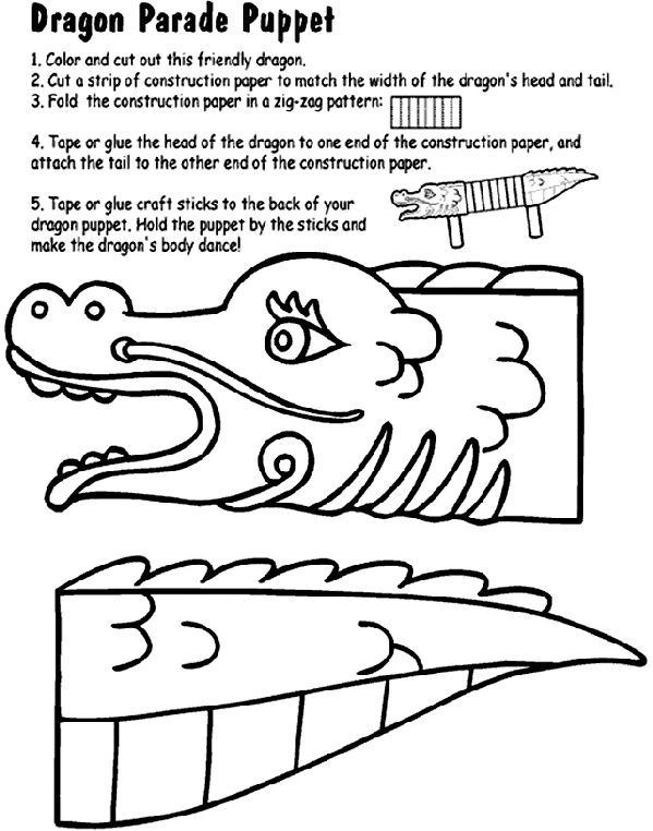dragon parade puppet coloring page