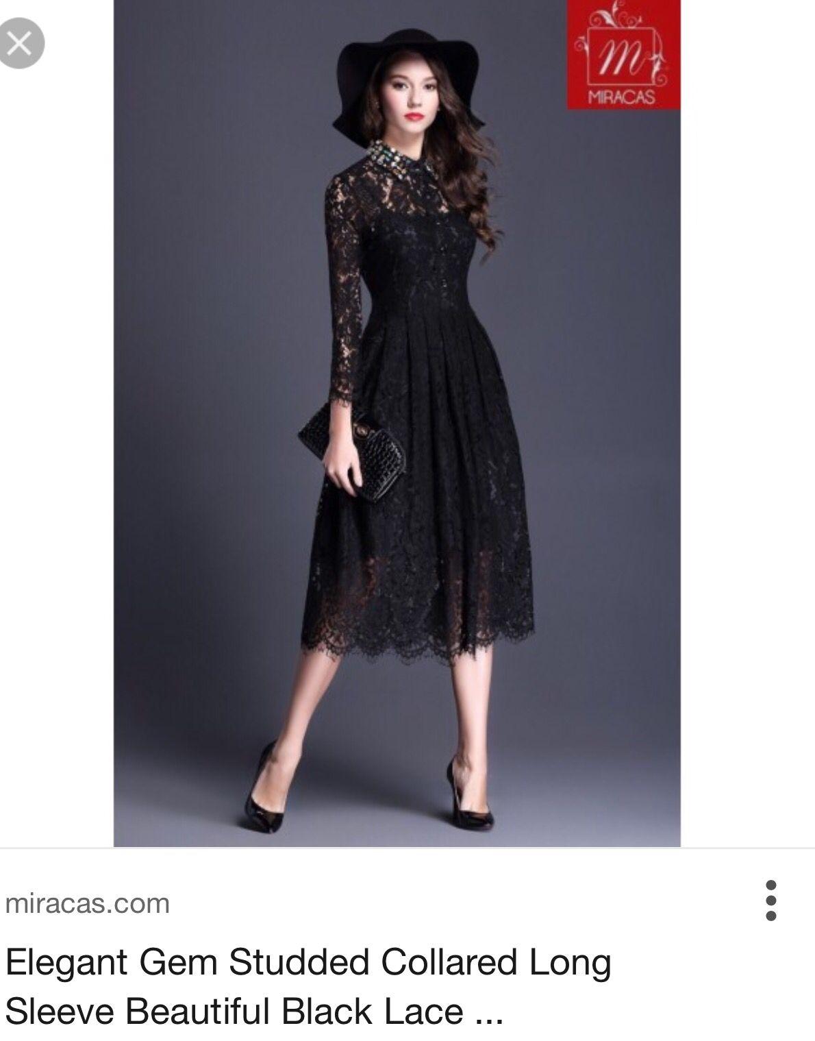 Lace Black Elegant Dress by Miracas | Little Black Dresses | Pinterest