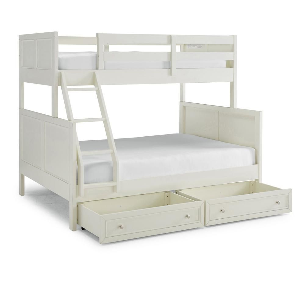 Homestyles Naples Off White Twin Over Full Bunk Bed With Storage