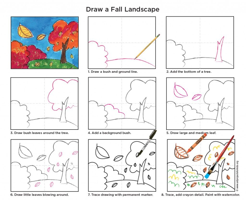 How To Draw A Fall Tree Art Projects For Kids Landscape Drawing For Kids Kids Art Projects Fall Art Projects