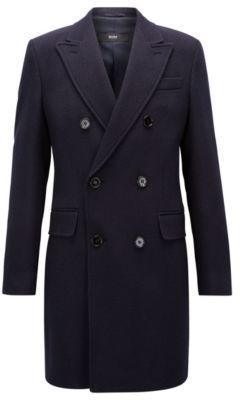 Hugo Boss Wool Twill Double Breasted Overcoat Darvin 42lblue
