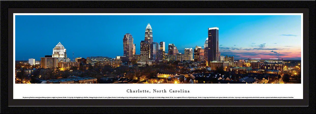 Charlotte Skyline Panoramic Picture Framed, North Carolina