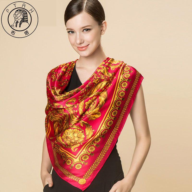 14e2a04873e PTAH Square Muffler Chinese style Silk Scarf For Women Fashion ...