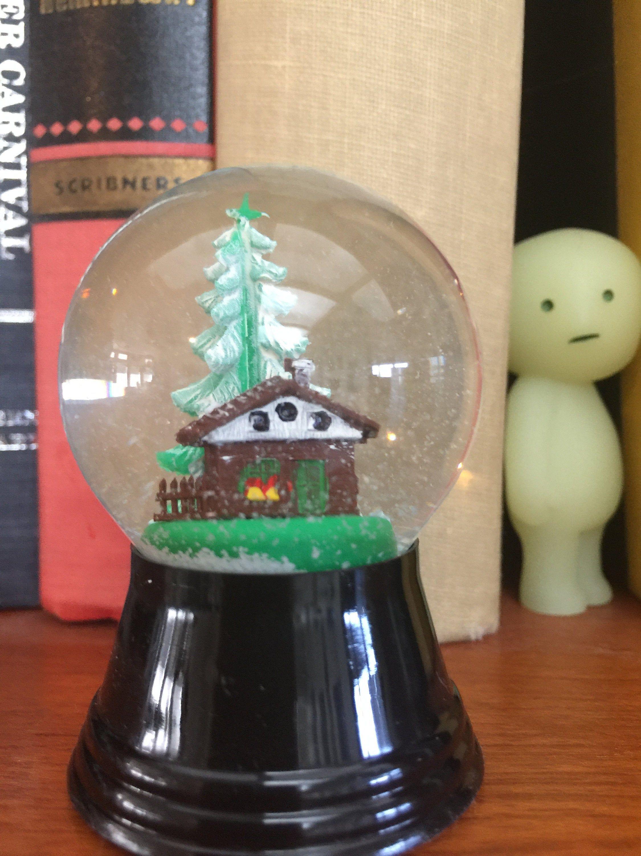 Tiny House and Tree inside a Handmade Miniature Snow Globe