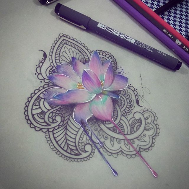 "Taizane - Tattoo Vibracional on Instagram: ""Esboço para amanhã terminado! 😍 #flordelotus #lotustattoo #lotus #mehndi #tatuagemindiana #drawing #tattoodrawing #tattoo"""