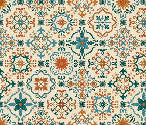 Colorful Fabrics Digitally Printed By Spoonflower Spanish Tiles