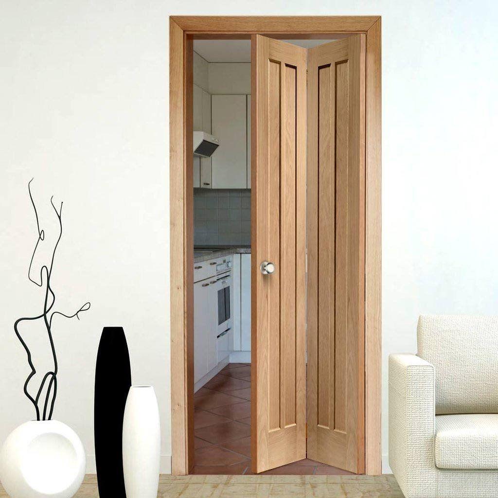 Worcester Oak Bifold Door With 4 Panels Quality And Style Bifolddoor Paneldoor Oak Bifold Doors Wood Doors Interior Kitchen Door Designs