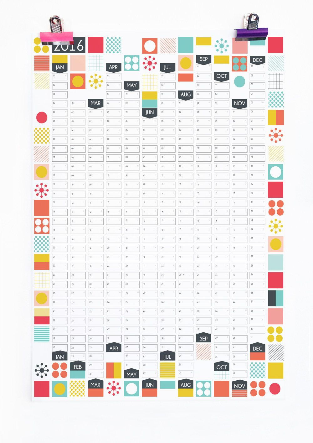 2020 Wall Planner Mid Century Wall Calendar Yearly Planner