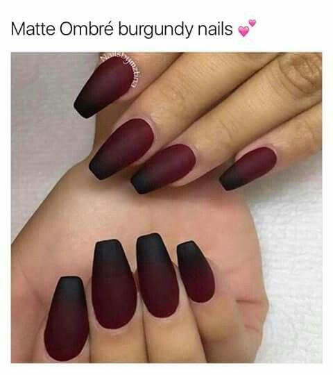 Pin By Samantha Weekly On Fashion Kills Matte Nails Design Nail Art Ombre Matte Maroon Nails