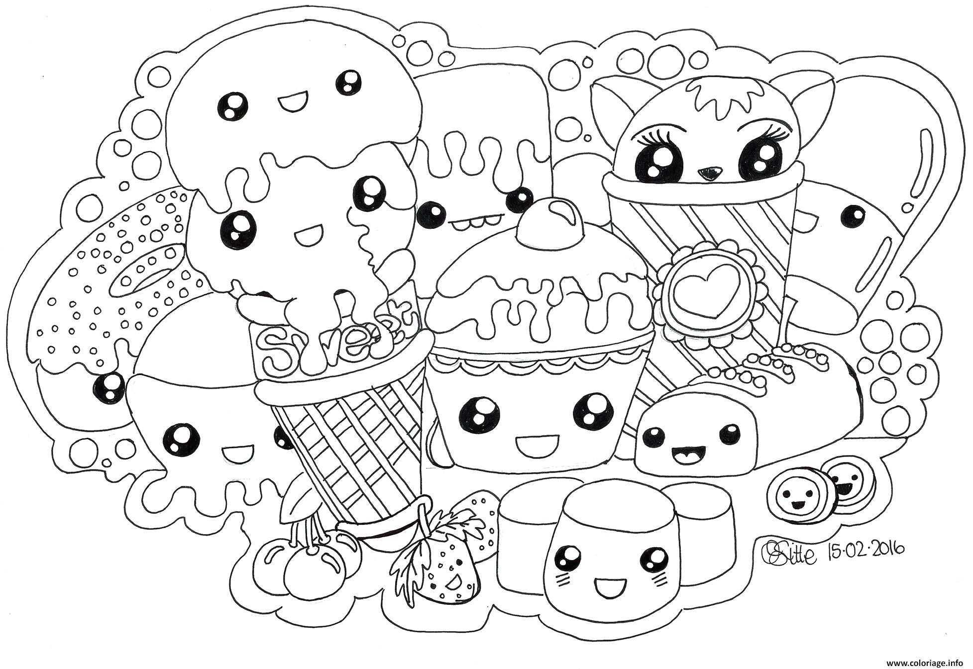 Coloriage Kawaii Sweets Colour Manga Cute Dessin Avec