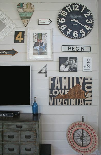 create a shiplap gallery wall