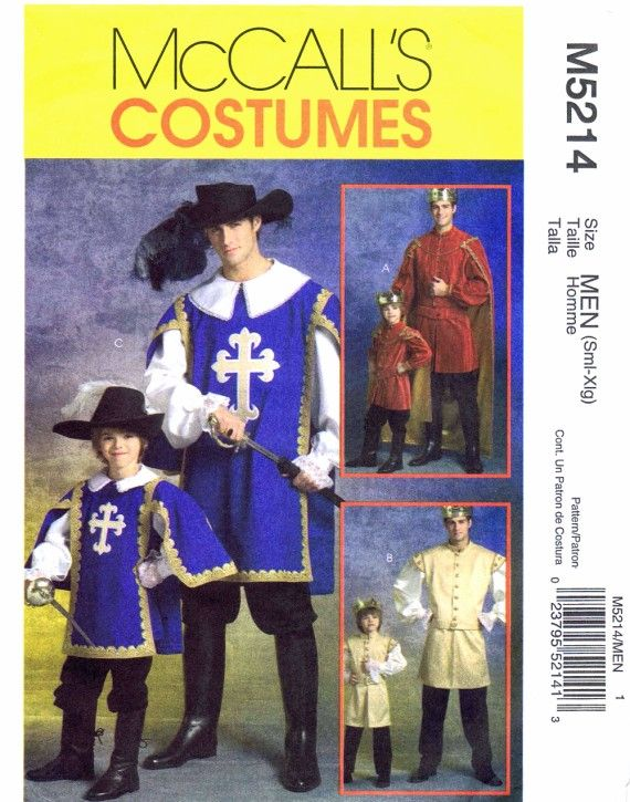 Mens Musketeer Prince Costumes McCall\'s 5214 Sewing Pattern | Sewing ...