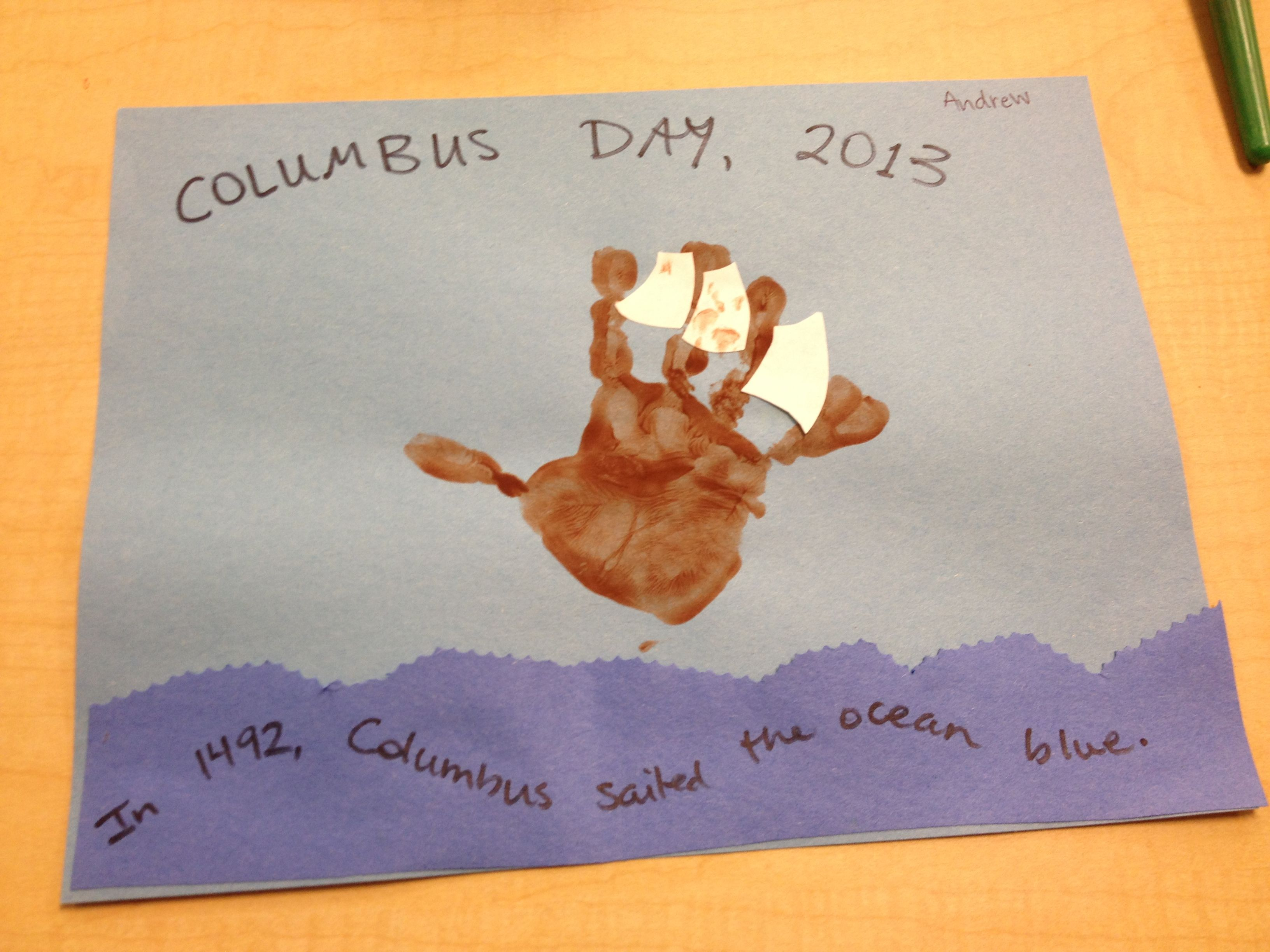 Columbus Day Ship Craft Light And Dark Blue Construction Paper Brown Tempera Paint White Pap Kindergarten Crafts Easy Mother S Day Crafts Preschool Crafts